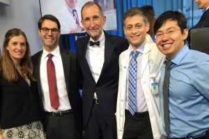 The 2018 Pope Clinical Fellows Awards recipients: Kate Westmoreland, MD, C. Tyler Ellis, MD, Aaron Mitchell, MD, and Kyle Wang, MD. Pictured with UNC Health Care CEO and UNC School of Medicine Dean, William L. Roper, MD, MPH (center).