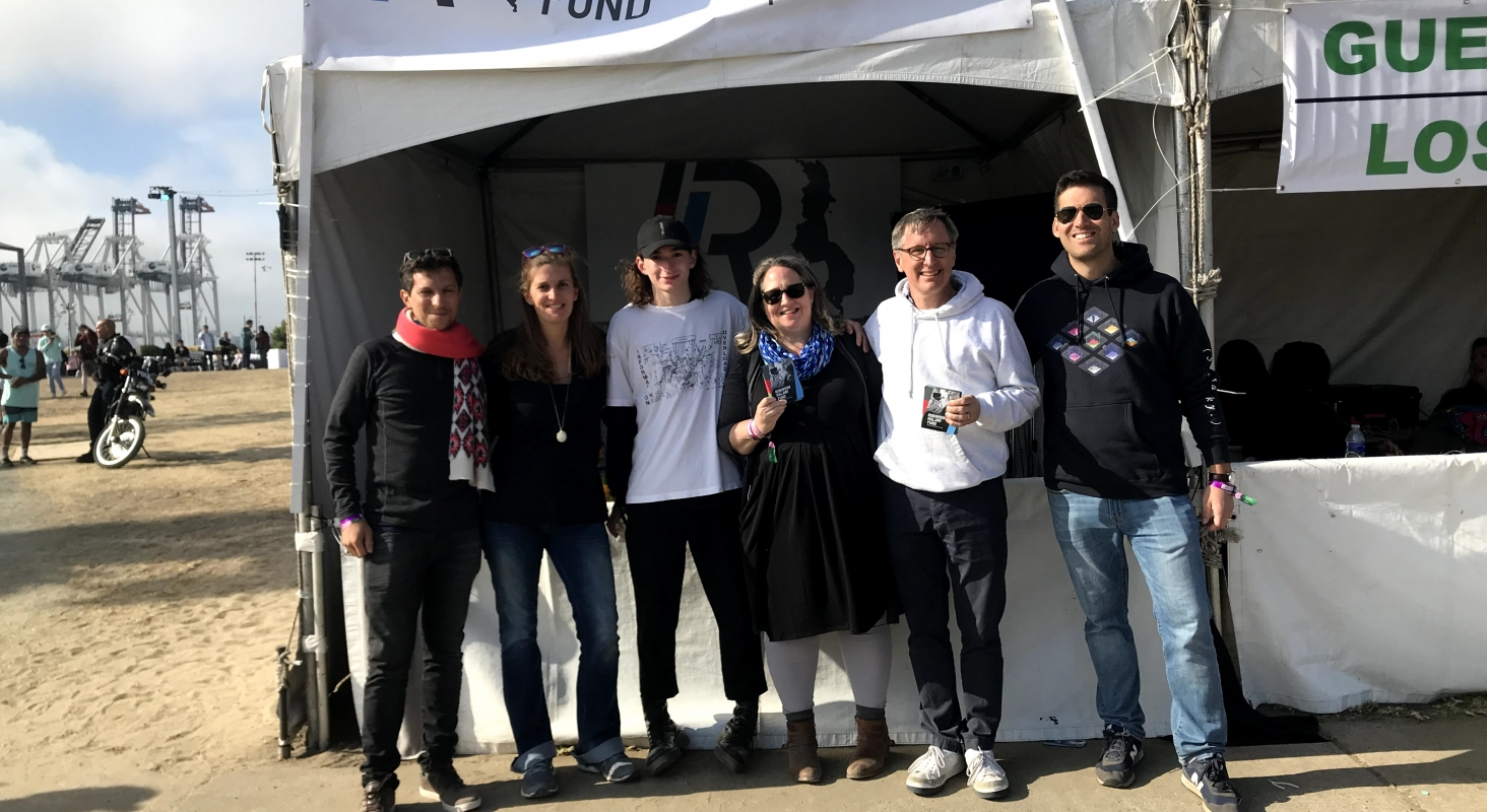 In front of the Robinson Malawi Fund tent at Second Sky. Left to right: Rodrigo, Dr. Kate, Mark, Nancy, Nick, Lee