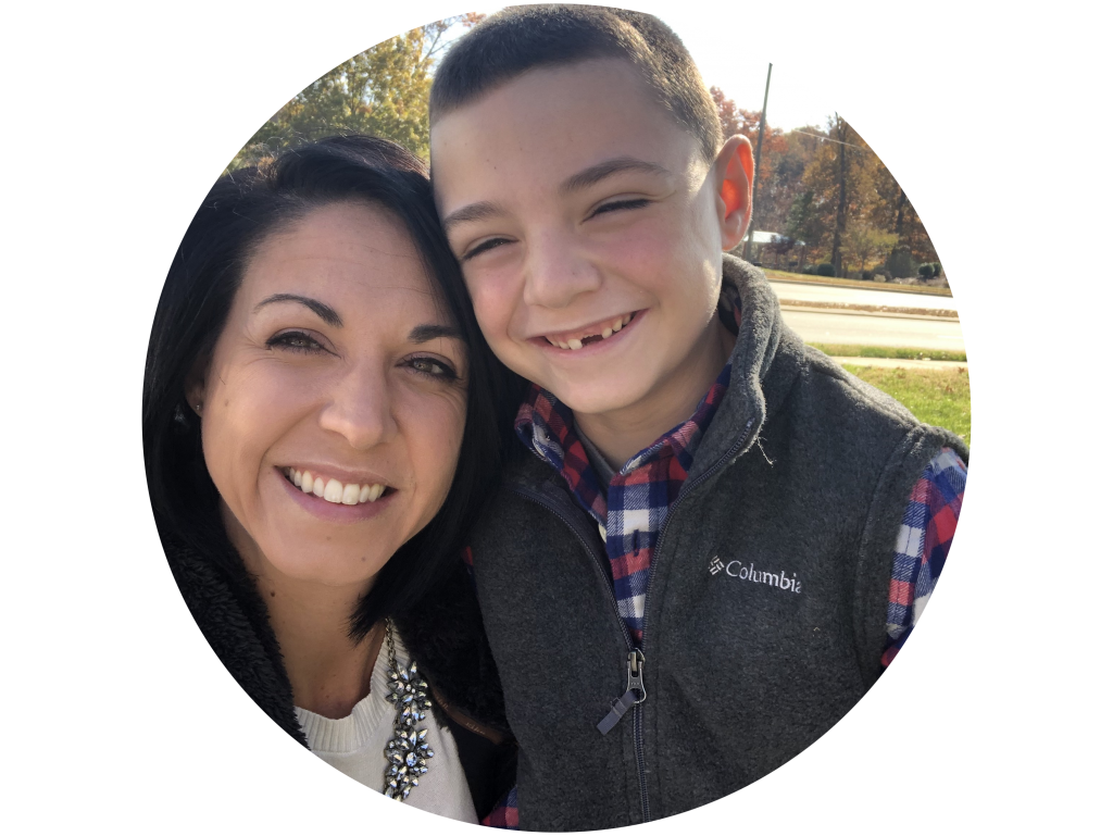 boy and mom smiling
